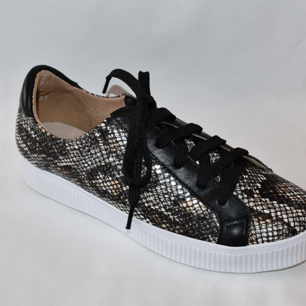 All Black Exotic Flatform Women's Sneaker Snake Print and Black | Ooh! Ooh! Shoes Women's Shoes and Clothing Boutique Naples, Charleston and Mashpee