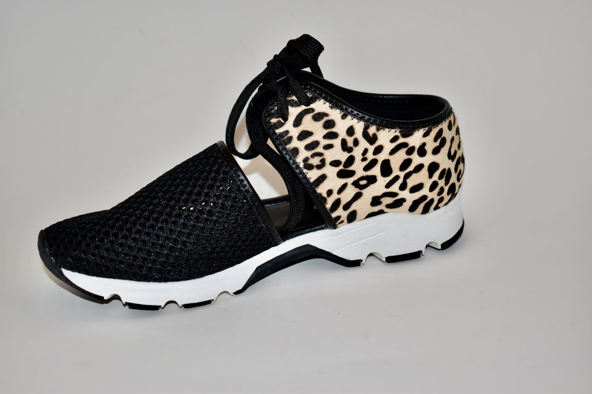 All Black Amazing Mesh Women's Sneaker Black and Leopard Print | Ooh! Ooh! Shoes Women's Shoes and Clothing Boutique Naples, Charleston and Mashpee