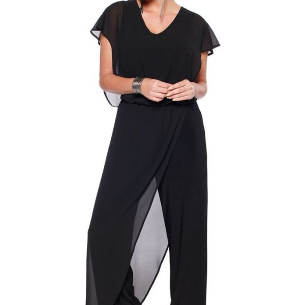 Last Tango MS 1059 Women's Jumpsuit with Sheer Chiffon accents in Black | Ooh! Ooh! Shoes Women's Shoes and Clothing Boutique Naples, Charleston and Mashpee