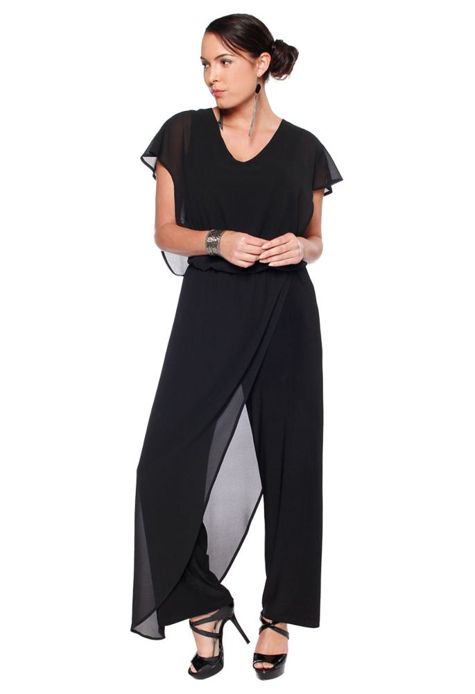 Last Tango MS 1059 Women's Jumpsuit with Sheer Chiffon accents in Black   Ooh! Ooh! Shoes Women's Shoes and Clothing Boutique Naples, Charleston and Mashpee