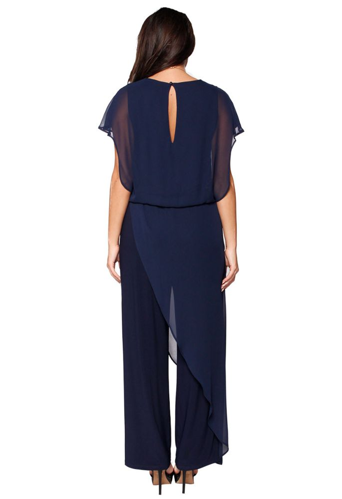 Last Tango MS 1059 Women's Jumpsuit with Sheer Chiffon accents in Navy   Ooh! Ooh! Shoes Women's Shoes and Clothing Boutique Naples, Charleston and Mashpee