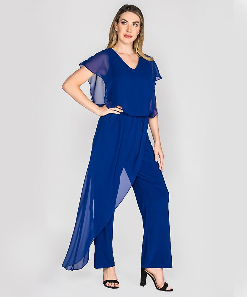 Last Tango MS 1059 Women's Jumpsuit with Sheer Chiffon accents in Blue   Ooh! Ooh! Shoes Women's Shoes and Clothing Boutique Naples, Charleston and Mashpee