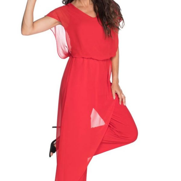 Last Tango MS 1059 Women's Jumpsuit with Sheer Chiffon accents in Red | Ooh! Ooh! Shoes Women's Shoes and Clothing Boutique Naples, Charleston and Mashpee