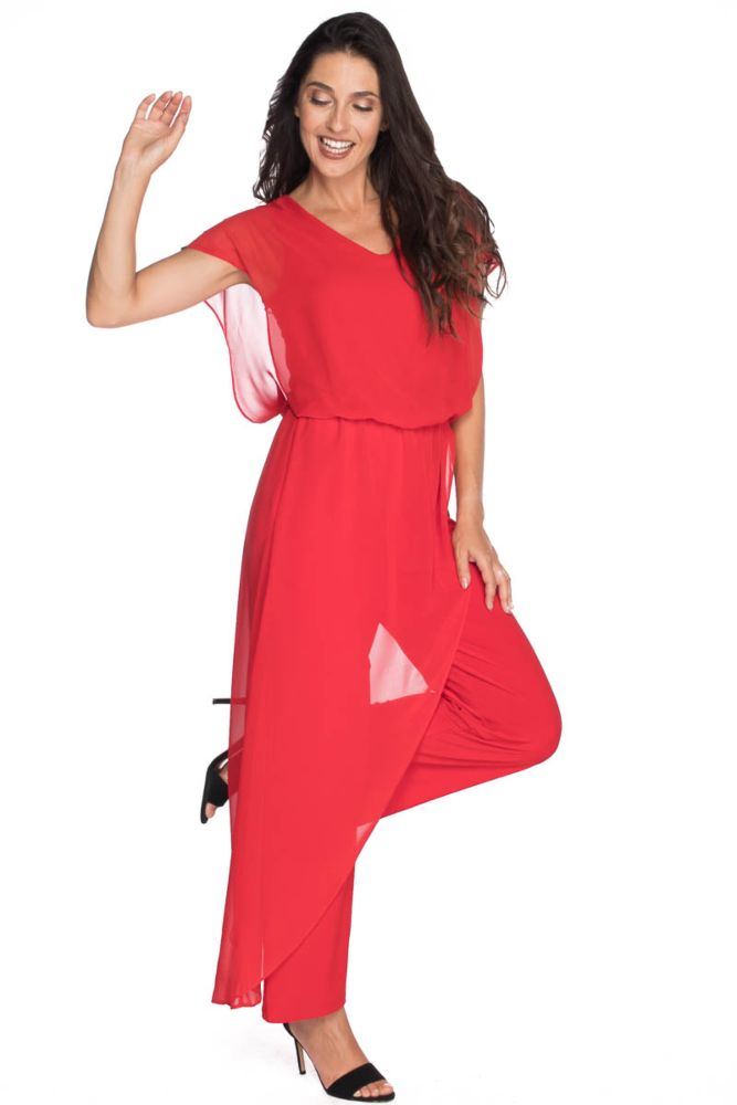 Last Tango MS 1059 Women's Jumpsuit with Sheer Chiffon accents in Red   Ooh! Ooh! Shoes Women's Shoes and Clothing Boutique Naples, Charleston and Mashpee