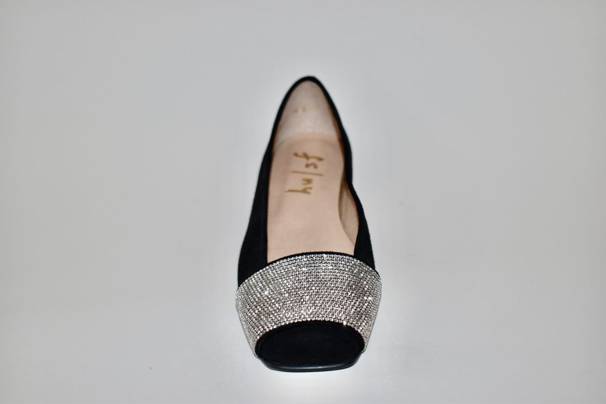French Sole Via Women's Ballet Flat Show in Black with Rhinestone embellishment | Ooh! Ooh! Shoes Women's Shoes and Clothing Boutique Naples, Charleston and Mashpee