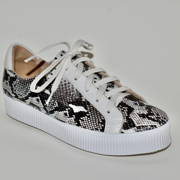 All Black Exotic Flatform Women's Sneaker Snake Print and White | Ooh! Ooh! Shoes Women's Shoes and Clothing Boutique Naples, Charleston and Mashpee