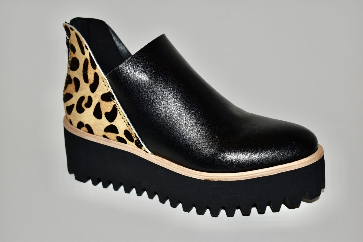All Black Flatform Platform Boot Women's Boot Nubuck Leather and Leopard Detail Heel Area | Ooh! Ooh! Shoes Women's Shoes and Clothing Boutique Naples, Charleston and Mashpee
