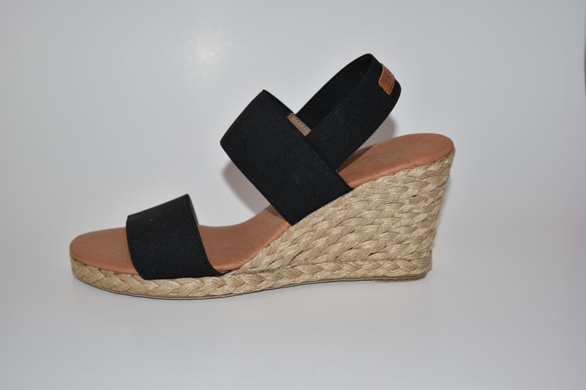 Andre Assous Allison Women's Shoe Espadrille Wedge with Elastic Band in Black | Ooh! Ooh! Shoes Women's Shoes and Clothing Boutique Naples, Charleston and Mashpee