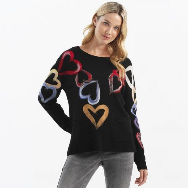 Charlie B C2320 Women's Sweater with Multi-Colored Hearts | Ooh! Shoes Women's Shoes and Clothing Boutique Naples, Charleston and Mashpee