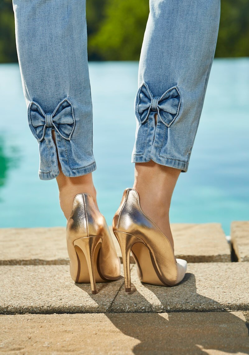 Charlie B Bow Back Denim Jeans and Gold Heels | Ooh! Ooh! Shoes Women's Shoes and Clothing Boutique Naples, Charleston and Mashpee