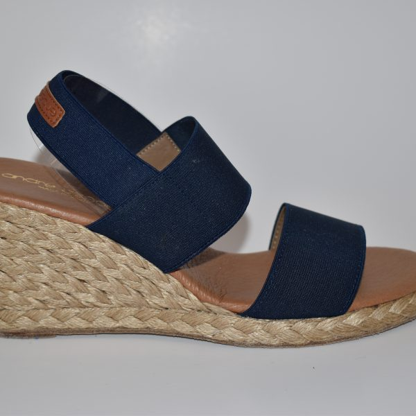 Andre Assous Allison Women's Shoe Espadrille Wedge with Elastic Band in Navy | Ooh! Ooh! Shoes Women's Shoes and Clothing Boutique Naples, Charleston and Mashpee