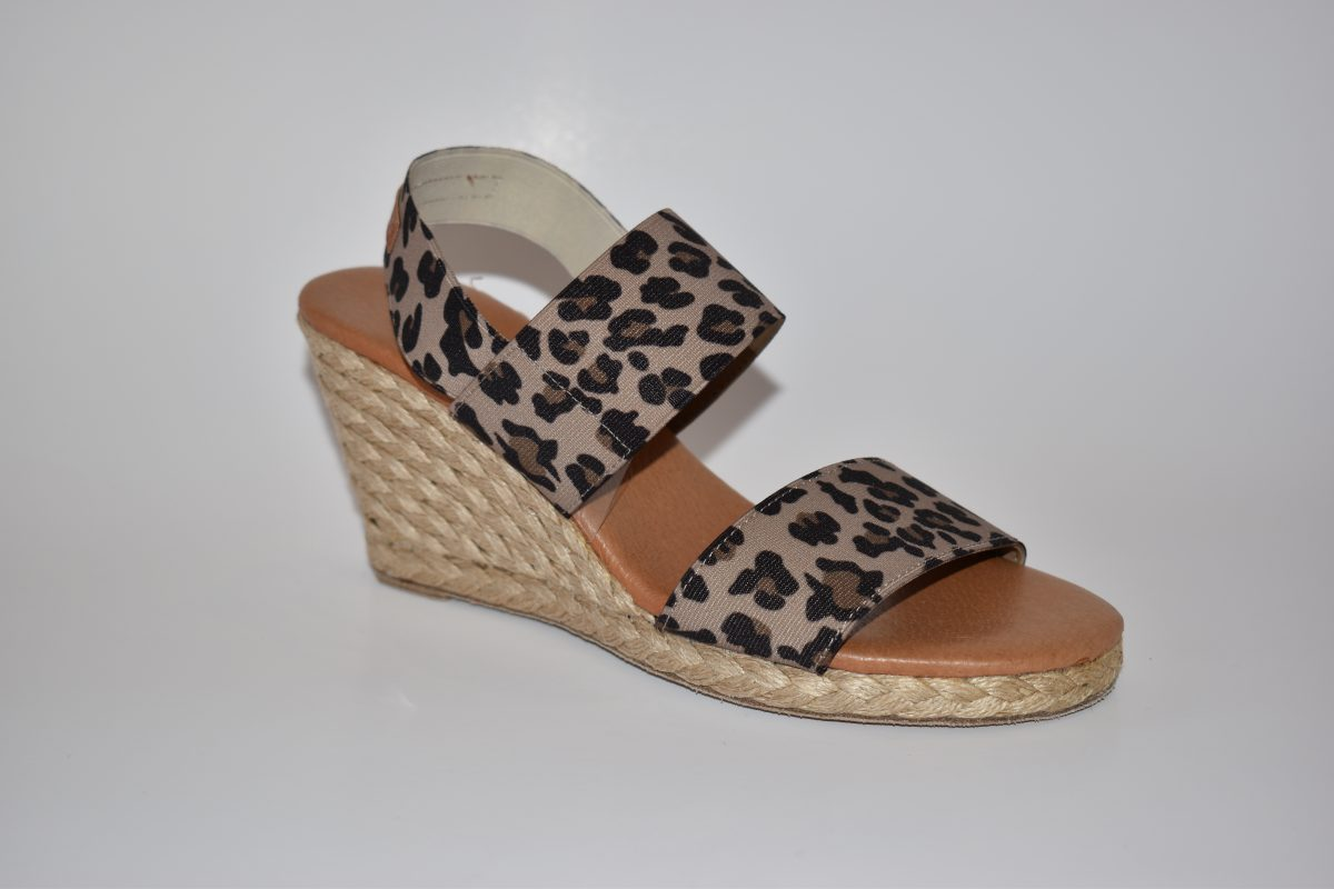 Andre Assous Allison Women's Shoe Espadrille Wedge with Elastic Band in Leopard | Ooh! Ooh! Shoes Women's Shoes and Clothing Boutique Naples, Charleston and Mashpee