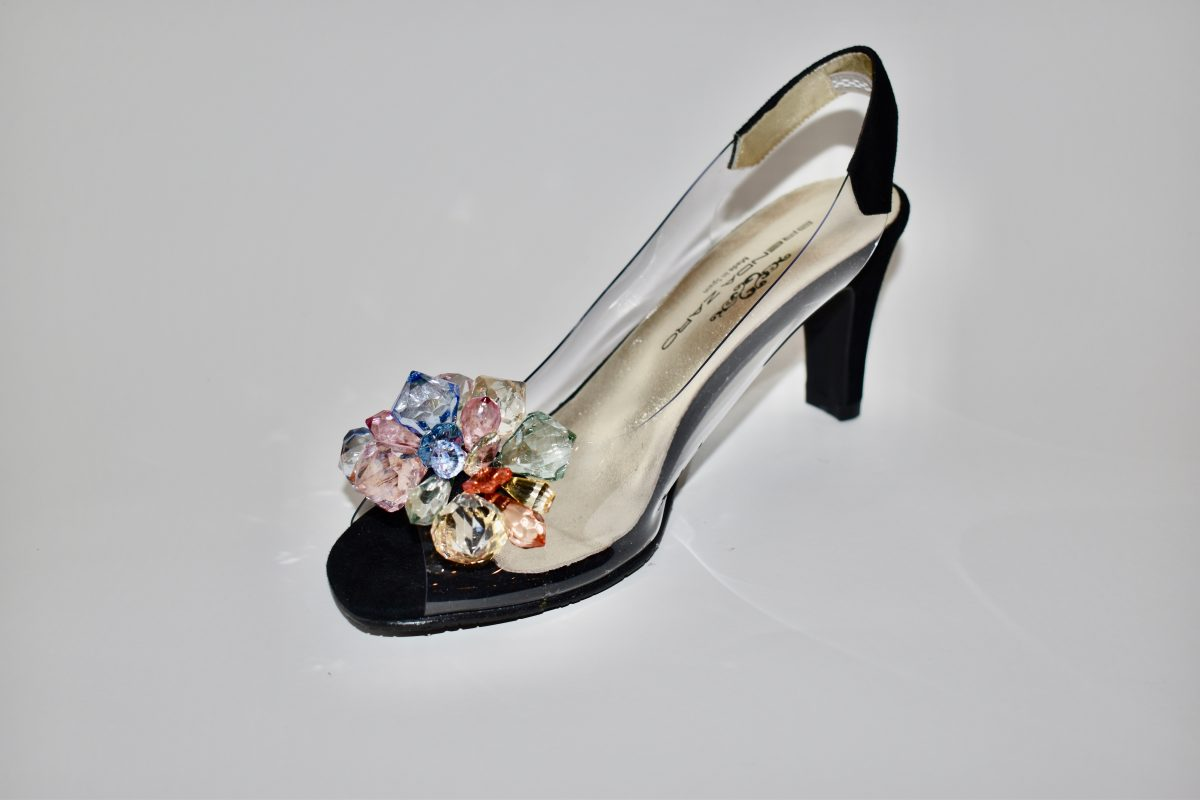 Brenda Zaro T3150 Women's Heels in Black with Clear Vinyl with Colored Jewels | Ooh! Ooh! Shoes Women's Shoes and Clothing Boutique Naples, Charleston and Mashpee