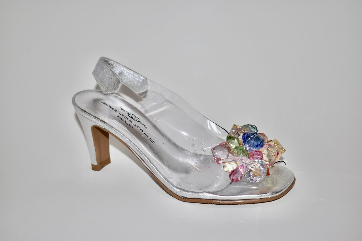 Brenda Zaro T3150 Women's Heels in Silver with Clear Vinyl with Colored Jewels | Ooh! Ooh! Shoes Women's Shoes and Clothing Boutique Naples, Charleston and Mashpee