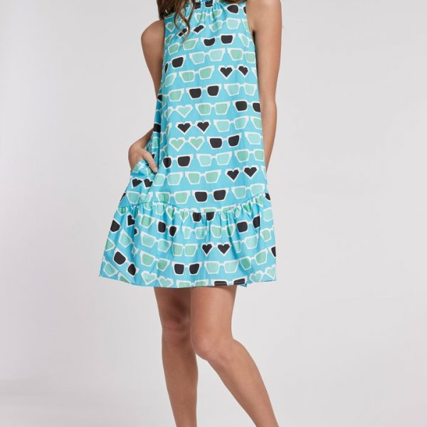 Poppy Sunglasses Dress with mock neckline and flounce at the hem| Ooh! Ooh! Shoes women's clothing & shoe boutique naples, charleston and mashpee