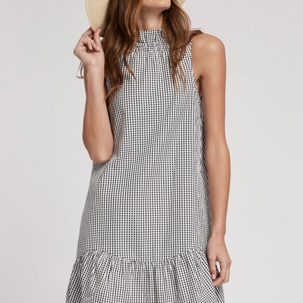 Tyler Boe Poppy Gingham Dress with mock neckline with flounce at the hem | Ooh! Ooh! Shoes women's clothing & shoe boutique naples, charleston and mashpee