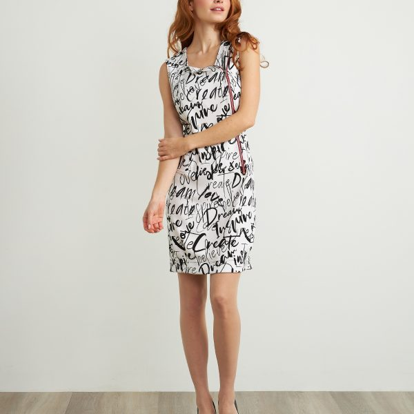 Joseph Ribkoff 211309 sleeveless dress with bold graffiti print | Ooh! Ooh! Shoes women's clothing & shoe boutique naples, charleston and mashpee