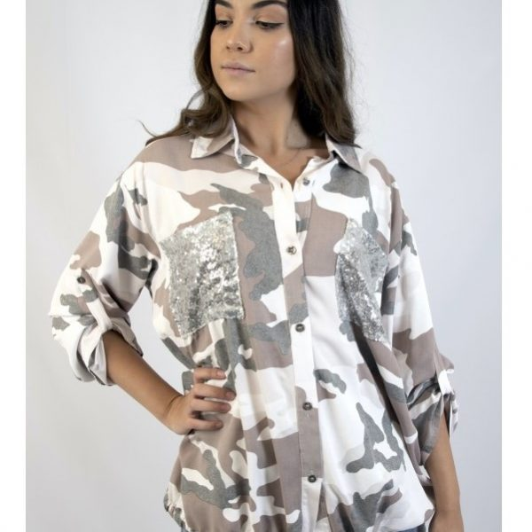 Look Mode 70303 Women's Top Button Down Shirt with Sequin Pockets and Camo Print | Ooh! Shoes Women's Shoes and Clothing Boutique Naples, Charleston and Mashpee