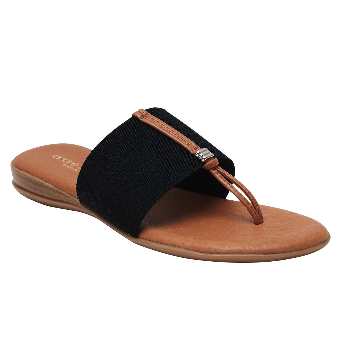 Andre Assous Nice thong style sandal with leather padded footbed and wide elastic band  Ooh! Ooh! Shoes woman's clothing and shoe boutique naples, charleston and mashpee