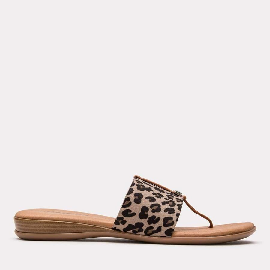 Andre Assous Nice Women's Sandal Thong Style, Leather Foot Bed in Leopard   Ooh! Shoes Women's Shoes and Clothing Boutique Naples, Charleston and Mashpee