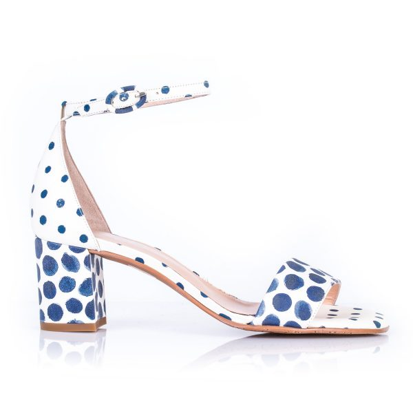 Brenda Zaro T3115 White and Blue circles Leather Sandal| Ooh Ooh Shoes woman's clothing and shoe boutique naples, charleston and mashpee