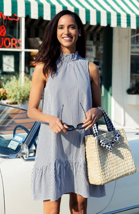 Tyler Boe Poppy Gingham Dress with mock neckline and flounce at the hem | Ooh! Ooh! Shoes women's clothing & shoe boutique naples, charleston and mashpee