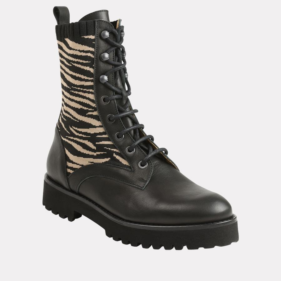 Andre Assous Miri Women's Boot Combat Style Boot with Black Leather and Zebra Print Side | Ooh! Ooh! Shoes Women's Shoes and Clothing Boutique Naples, Charleston and Mashpee