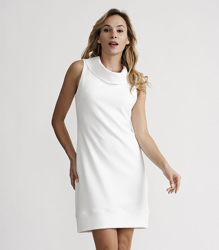 Joseph Ribkoff 201232 Sleeveless Cowel Neck Dress in White | Ooh! Ooh! Shoes Women's Shoes and Clothing Boutique Naples, Charleston and Mashpee