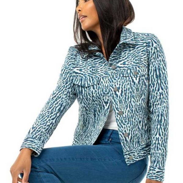 Liverpool LM1004QHP06 Indi Coast Leopard Denim Jacket | Ooh! Ooh! Shoes Women's Shoes and Clothing Boutique Naples, Charleston and Mashpee