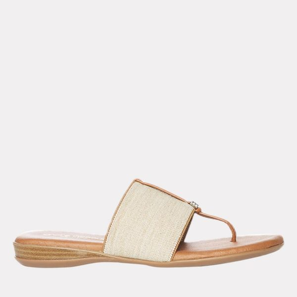 Andre Assous Nice Women's Sandal Thong Style, Leather Foot Bed in Beige Linen | Ooh! Shoes Women's Shoes and Clothing Boutique Naples, Charleston and Mashpee
