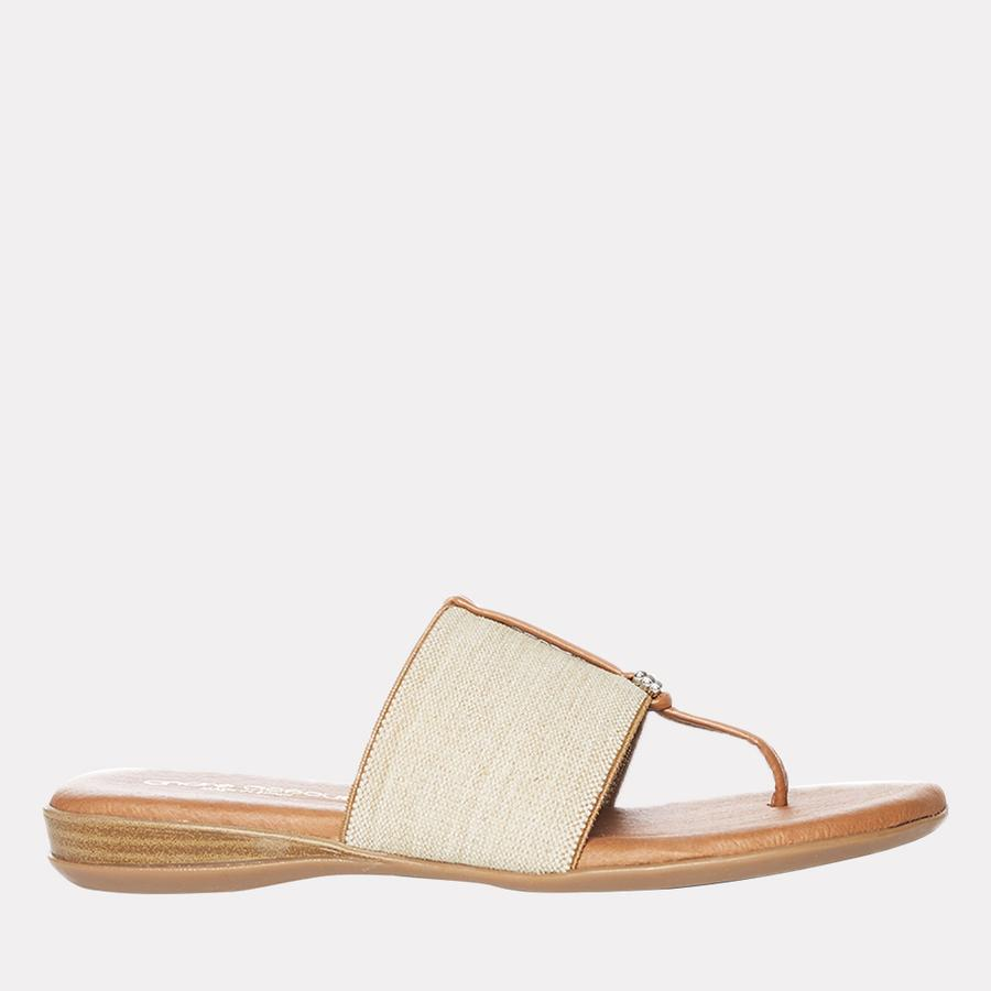 Andre Assous Nice Women's Sandal Thong Style, Leather Foot Bed in Beige Linen   Ooh! Shoes Women's Shoes and Clothing Boutique Naples, Charleston and Mashpee