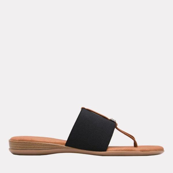 Andre Assous Nice Women's Sandal Thong Style, Leather Foot Bed in Black | Ooh! Shoes Women's Shoes and Clothing Boutique Naples, Charleston and Mashpee