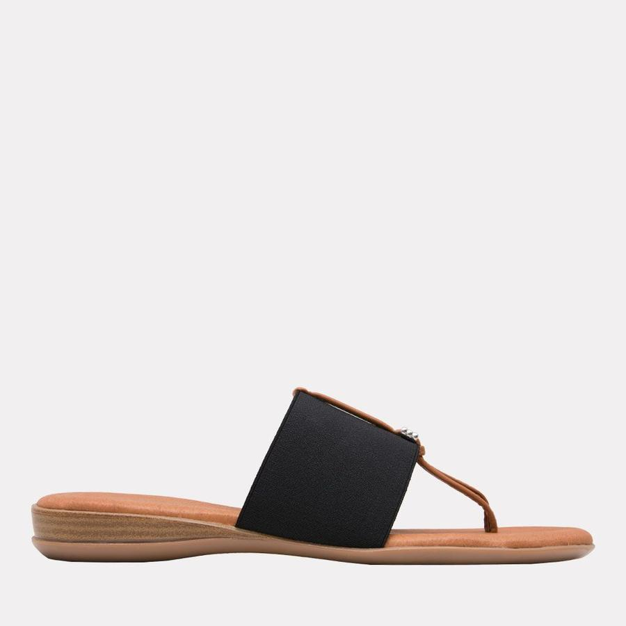 Andre Assous Nice Women's Sandal Thong Style, Leather Foot Bed in Black   Ooh! Shoes Women's Shoes and Clothing Boutique Naples, Charleston and Mashpee