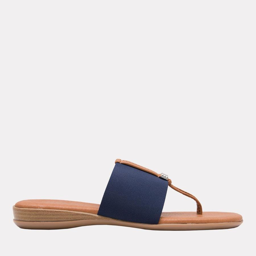 Andre Assous Nice Women's Sandal Thong Style, Leather Foot Bed in Navy   Ooh! Shoes Women's Shoes and Clothing Boutique Naples, Charleston and Mashpee