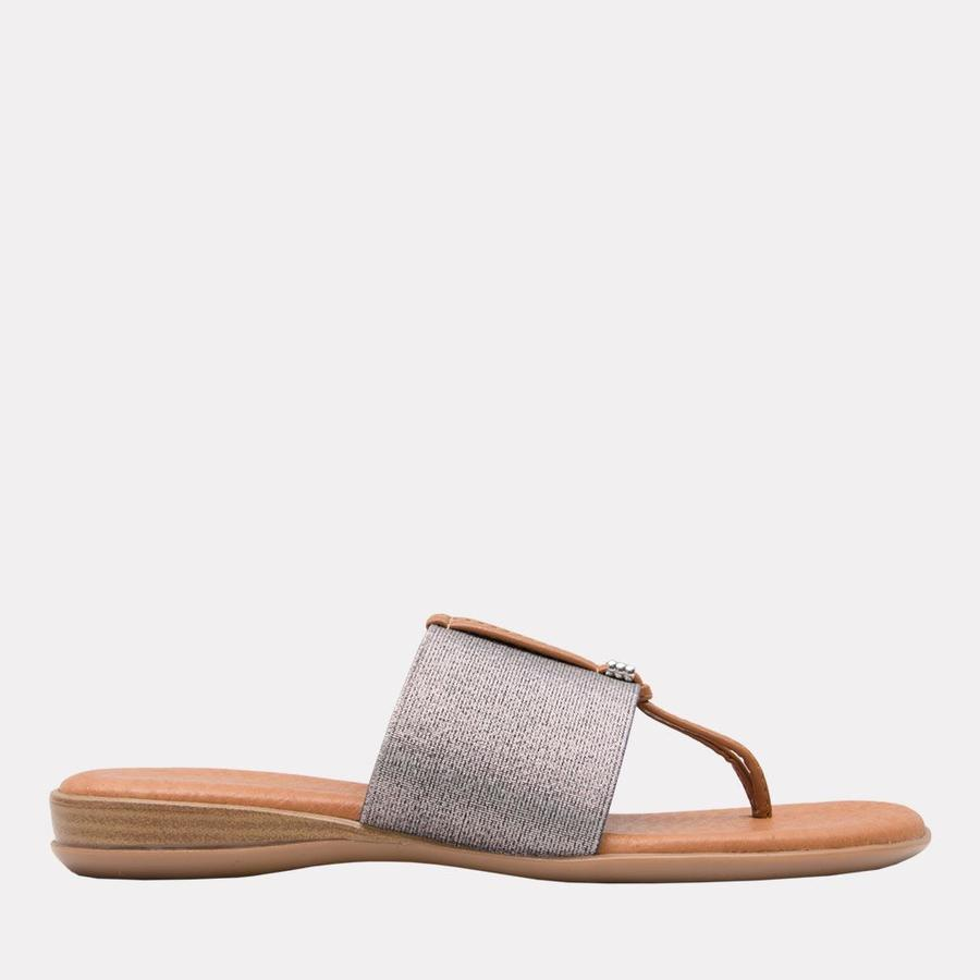 Andre Assous Nice Women's Sandal Thong Style, Leather Foot Bed in Pewter   Ooh! Shoes Women's Shoes and Clothing Boutique Naples, Charleston and Mashpee