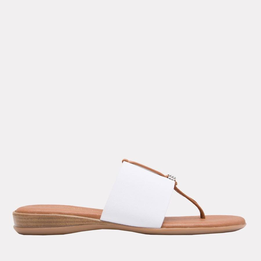 Andre Assous Nice Women's Sandal Thong Style, Leather Foot Bed in White   Ooh! Shoes Women's Shoes and Clothing Boutique Naples, Charleston and Mashpee