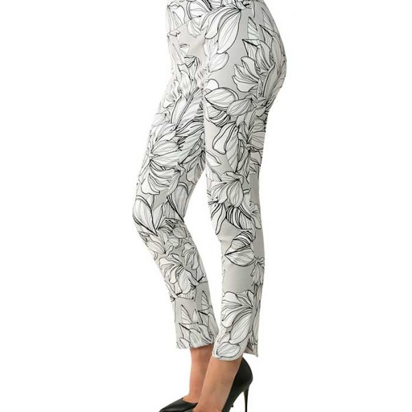 UP! 66792 Pants Gray and Floral Pattern | Ooh! Ooh! Shoes Women's Shoes and Clothing Boutique Naples, Charleston and Mashpee